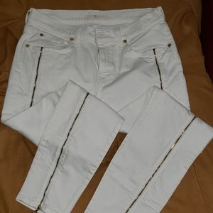 7 For All Mankind Zippered Skinny Jeans
